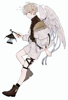 met the boy with wings. And finally, he laughs. Anime Chibi, Kawaii Anime, Anime Art, Anime Angel, Anime Characters Male, Cute Anime Guys, Anime Boys, Boy Art, Character Design Inspiration