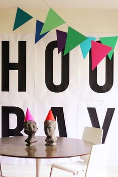 HOORAY!! banner something different for a party than the usual happy birthday sign. Hip Hip Hooray // hank & hunt