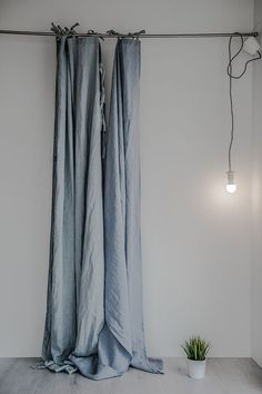 Linen curtains/ linen drapes in ice blue/silver by notPERFECTLINEN