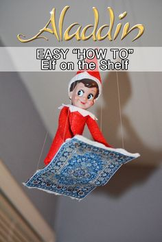 Elf on the Shelf Aladdin Flying Carpet! How to create a flying carpet Elf on the Shelf inspired by Aladdin plus tons of other Elf on the Shelf ideas! Awesome Elf On The Shelf Ideas, Elf Is Back Ideas, Der Elf, Elf Auf Dem Regal, Elf On The Self, Elf Magic, Naughty Elf, Christmas Preparation, Buddy The Elf