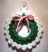 Christmas Wreath Ornament free crochet pattern - Free Crochet Christmas Wreath Patterns - The Lavender Chair
