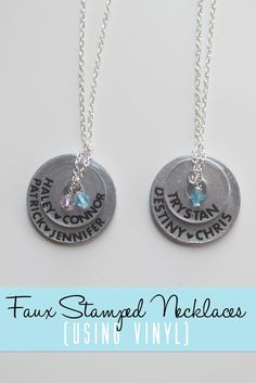 eat.sleep.MAKE.: CRAFT: Faux Stamped Necklaces (Using Vinyl)