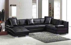 L Shaped Leather Sofa. Black Living Room FurnitureBlack ...