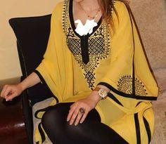 Liquette guandoura Arab Fashion, Fashion Wear, African Fashion, Fashion Outfits, Morrocan Kaftan, Moroccan Dress, Mode Abaya, Mode Hijab, Pakistani Fashion Party Wear