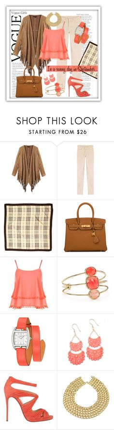 """In a sunny day in September..."" by pomy22 ❤ liked on Polyvore featuring 7 For All Mankind, Burberry, Hermès, WearAll, Kate Spade, Christian Louboutin, Chanel, Fall and falltrend"