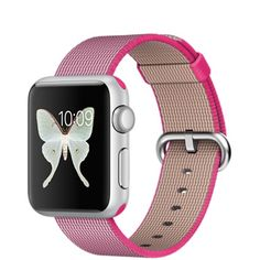 This Apple Watch Sport model is available in a 38mm Silver Aluminum Case with a Pink Woven Nylon Band. View features, pricing, and more.