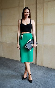 Just the right place to hang sunglasses... making a statement + color blocking