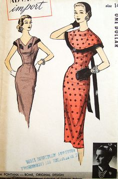 advance import dress 115 closeup, via Flickr.  Vintage dress pattern.