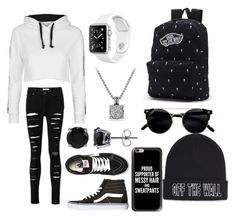 """Black and white outfit"" by najahp ❤ liked on Polyvore featuring Topshop, Vans, BERRICLE, David Yurman and Casetify"