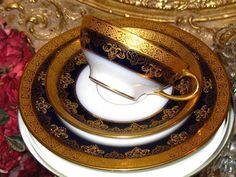 LIMOGES COBALT BLUE & HEAVY GOLD ETCHED TEA Cup and Saucer Plate Trio  | eBay