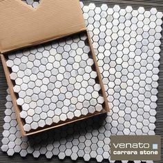 "$10.95/SF Carrara Venato 1"" Hexagon Marble Mosaic Tile from The Builder Depot available online. Perfect for a shower floor or bathroom floor. #Carrara #Hexagon"