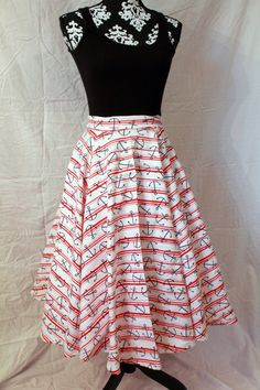1950s Vintage Style Circle Skirt With Nautical Anchor Print