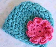 Infant Baby Newborn Girl Super Soft Super Super Chunky Crochet Hat with Flower Photo Prop Baby Shower Ocean Blue Pink by The Patchwork Nest, $17.00