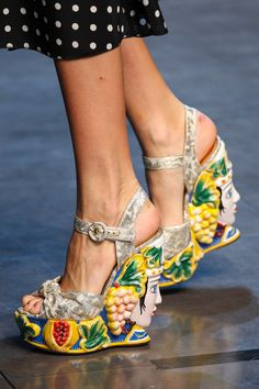 Dolce  Gabbana Skulptural Wedge Spring 2014 RTW #Shoes #Wedges DG #Fashion