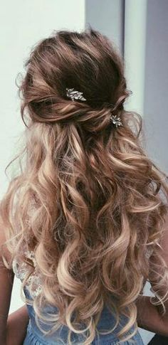 favorite wedding hairstyles-for-long-hair twisted hair with curls #WomenHairstylesParty #haircutsforlonghair