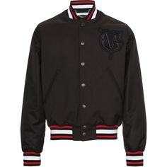 Givenchy logo embroidered bomber jacket ($1,645) ❤ liked on Polyvore featuring men's fashion, men's clothing, men's outerwear, men's jackets, black, mens urban jackets, mens fur collar bomber jacket, givenchy mens jacket, mens collared jacket and mens fitted jacket