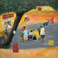 oil on canvas 60/60 cm  men playing in the centere of the neighborhood