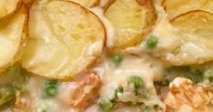 Salmon and Broccoli Potato Bake- salmon, broccoli and peas in a cheesy sauce and topped off with sliced potatoes. A real winter warmer for family meals. Baked Salmon Recipes, Chicken Wing Recipes, Veggie Recipes, Fish Recipes, Beef Recipes, Cooking Recipes, Cod Recipes, Veggie Meals, Salad Recipes