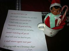 I was told about this a couple of days ago.Ill have to try it with Ann next year.Elf on the shelf--good bye poem and also, some cute ideas (like planting seeds in sugar and having candy canes grow overnight) Little Christmas, All Things Christmas, Christmas And New Year, Christmas Holidays, Merry Christmas, Christmas Decorations, Christmas Ideas, Xmas, Elf On The Self