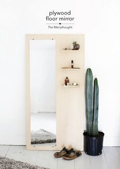 This is a great DIY a piece of plywood holding a mirror and shelves.