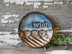 READY TO SHIP Pottery Wish Dish Tea Bag by BRobertsonPottery