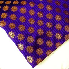 Indian Silk Fabric Purple and Gold Striped Weaving  by DesiFabrics