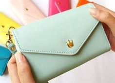 New Multifunction Mint Green Wallets I-Phone Galaxy Case I phone -Galaxy I Phone Case