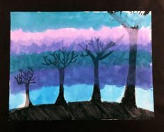 Trees, 2007 (Age Marker and watercolor on paper 18 by 24 inches A landscape of tree silhouettes from smallest to largest, cloaked in the colorful fo. Tree Silhouette, Shutter Speed, Cloak, Silhouettes, Hue, In The Heights, Markers, Perspective, Marker