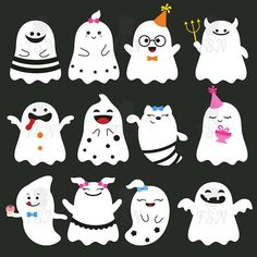 Halloween clipart cute ghosts clipart vector graphics. Cute
