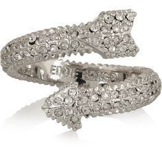 Eddie Borgo Silver-plated crystal arrow ring ($135) ❤ liked on Polyvore