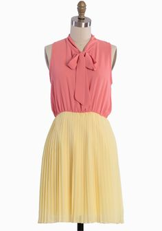 """Pretty In Peach Pleated Dress 46.99 at shopruche.com. Sophisticated and polished, this citrus sweet peach and yellow dress is refined with a classic necktie, a sunburst pleated skirt, and an elasticized for a comfortable and flattering fit. Partially lined. Wear with a cardigan and a belt for style that effortlessly transitions from day to night.100% Polyester, Made in USA, 34"""" length from top of shoulders, ..."""