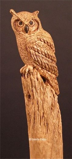 """Owl Walking Stick #1"" The owl is carved and the details are burned into the wood. There is no paint on the stick."