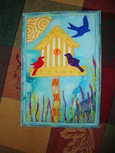 My first fabric postcard. :)