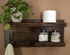 Modern Rustic 2-Tier Bathroom Shelf от KeoDecor на Etsy