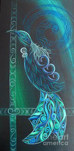 Tui Bird By Reina Cottier Painting by Reina Cottier Tui Bird, Maori Patterns, Maori Designs, New Zealand Art, Nz Art, Arte Country, Maori Art, Kiwiana, Art Carved