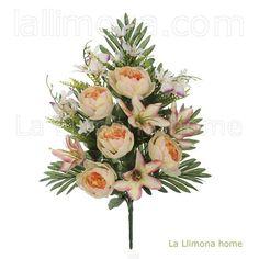 Ramos artificiales cementerios y jardineras Todos los Santos. Ramo flores artificiales peonias salmón con lily bicolor 57