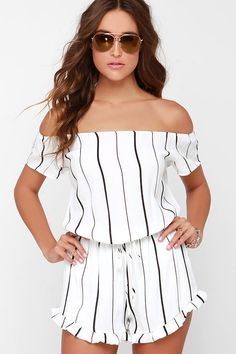 Pamelas Women's Short Boat Neck Short Sleeve Casual Vogue Shoulder Off Flounce Striped Playsuit Shorts Rompers Rompers Dressy, Cute Rompers, Rompers Women, Jumpsuits For Women, Striped Playsuit, Ruffle Romper, Ruffle Jumpsuit, Playsuit Romper, Peplum