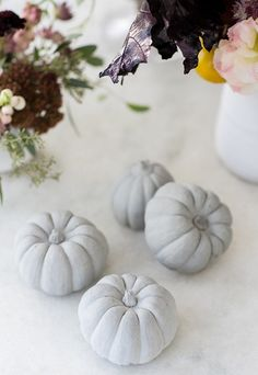 DIY Concrete Pumpkins - Sugar and Charm - sweet recipes - entertaining tips - lifestyle inspiration