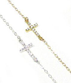TINY CZ Cubic Zirconia Sideways Cross Necklace by gemsinvogue