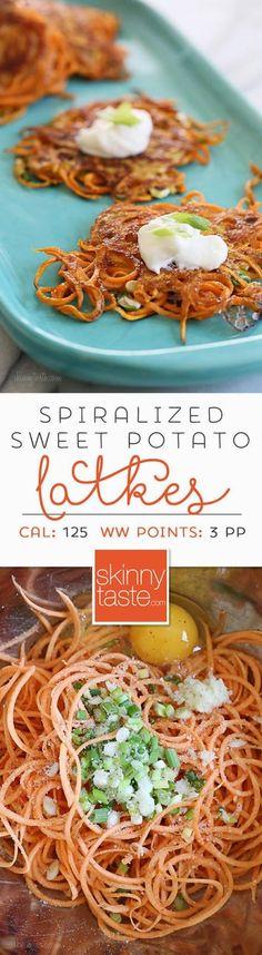 Spiralized Sweet Potato Latkes  an easier, healthier, sweet potato pancake.