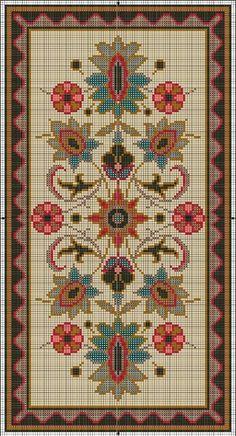 Miniature Rug Pattern 1 of 2 Cross Stitch Borders, Cross Stitch Samplers, Cross Stitch Flowers, Cross Stitch Designs, Cross Stitching, Cross Stitch Embroidery, Hand Embroidery, Embroidery Patterns, Cross Stitch Patterns