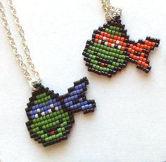 Chibi Donatello Necklace, Teenage Mutant Ninja Turtles, Handmade, Handbeaded Jewelry, 8bit jewelry