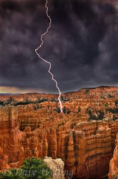 lightning strikes the hoodoo formations during a summmer rainstorm, Bryce Canyon National Park, Utah