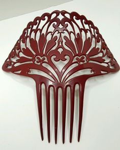 """Stunning Antique Victorian Bakelite Hair Comb Ornate and Large 8"""" Deep DK Red 
