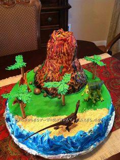 Easy Erupting Volcano Birthday Cake ...This website is the Pinterest of birthday cakes