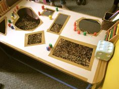 """Sensory table with a cut-out cardboard on top for exploration at St Liborius Primary School, image shared by Walker Learning Approach: Personalised Learning ("""",)"""
