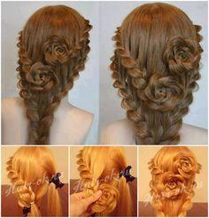 Lace Braid Rose Hair