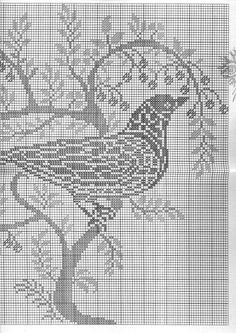 Cross Stitch Bird, Cross Stitch Charts, Crochet Birds, Filet Crochet, Vintage Crochet, Needlepoint, Needlework, Crochet Patterns, Butterfly
