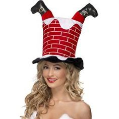 Funny Christmas Hats | christmas fancy dress, santa stuck in chimney hat, funny christmas ...