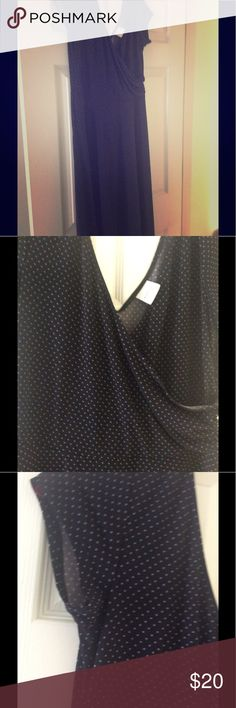 PinDot Dress Very nice, comfortable dress.  Wrap around, ruched top.  Full flowing bottom skirt.  Cap sleeves.  Very dark navy, almost black, with light blue dots.  Worn maybe twice.  Perfect condition. Merona Dresses Midi